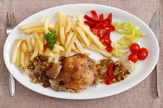 plat avec des frites